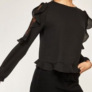 NWT Zara Ruffle and Lace Sleeve Top with Frill Hem